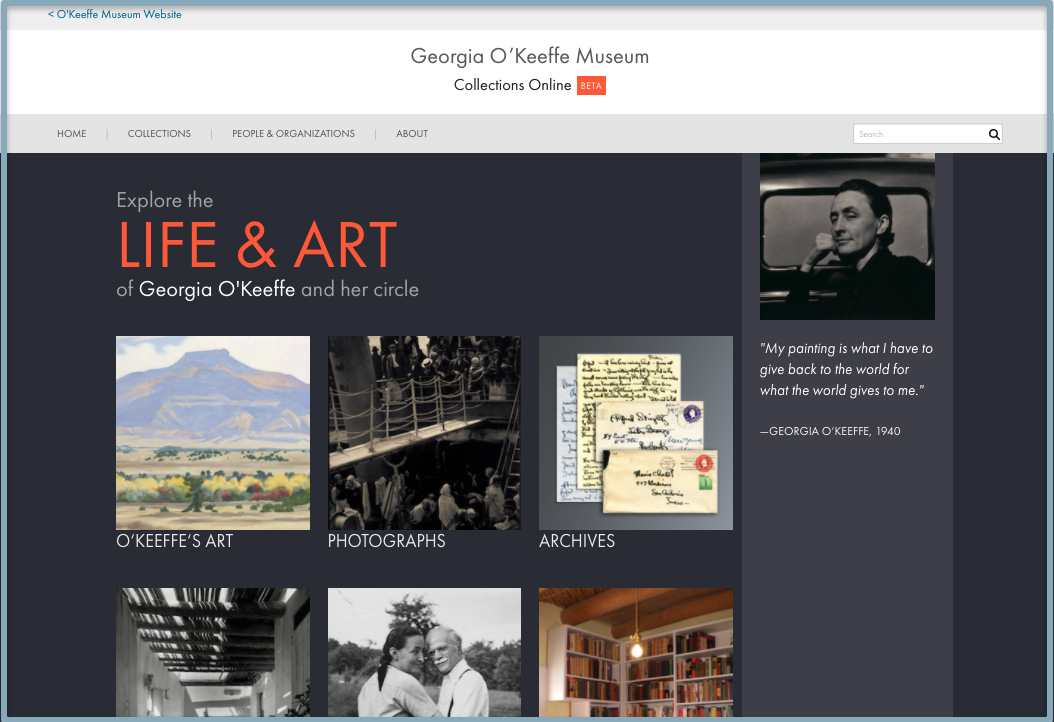 Screenshot of the collections online landing page