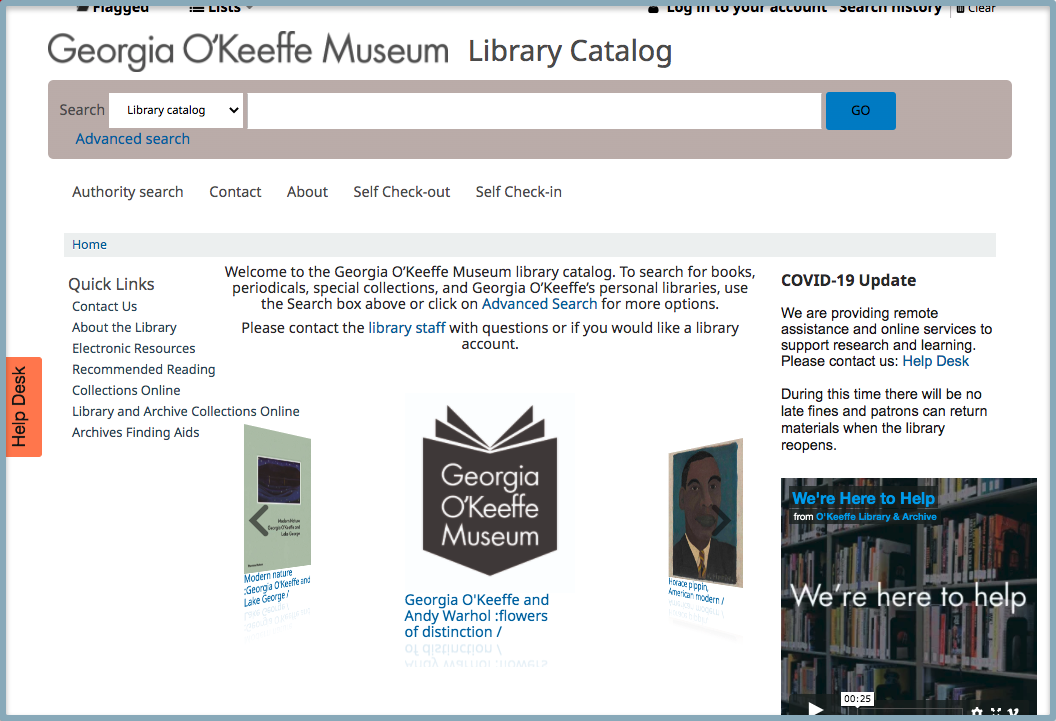 Screenshot of the library catalog website landing page