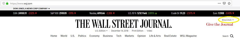 Wall Street Journal login