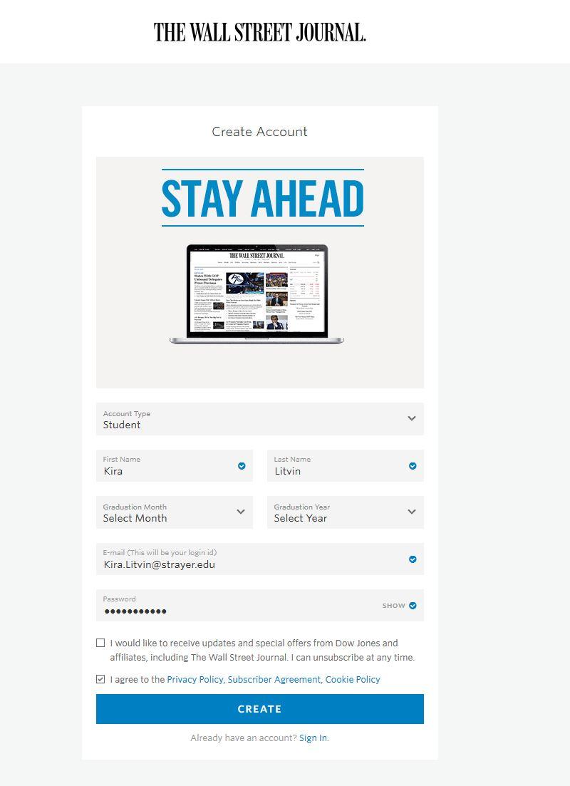 Wall Street Journal Account Screen