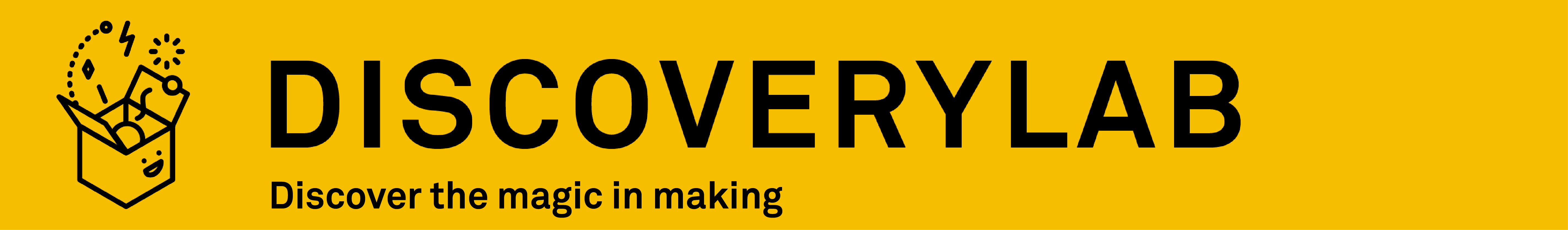 "DiscoveryLab Banner. Text: ""DiscoveryLab: Discover the Magic in Making"""