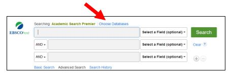 Choose databases option on Academic Search Premier