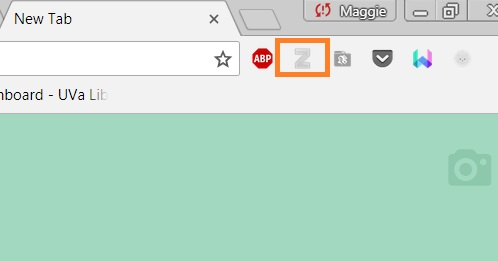Screenshot of Chrome browser with Zotero button highlighted.
