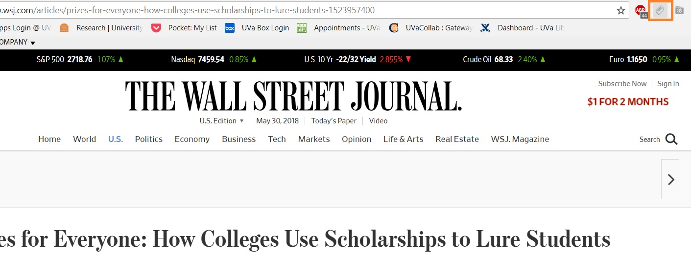 Screenshot of Zotero Chrome button on Wall Street Journal