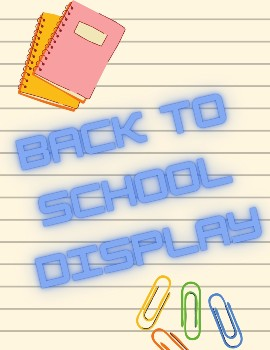 Image of notebooks and paper clips to promote Back to School book display