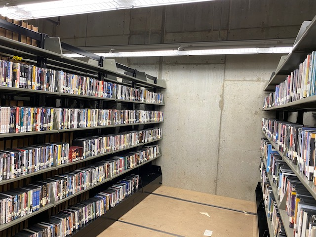 image of DVDs in new storage location