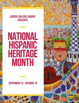 Colorful image celebrating National Hispanic Heritage Month book display