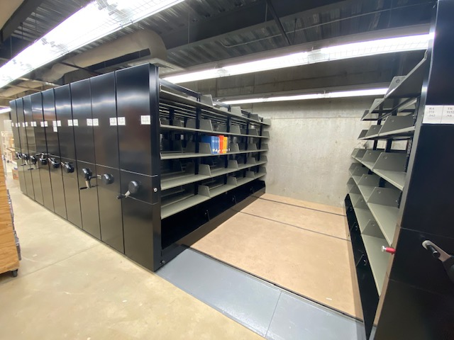 image of cleared storage shelves