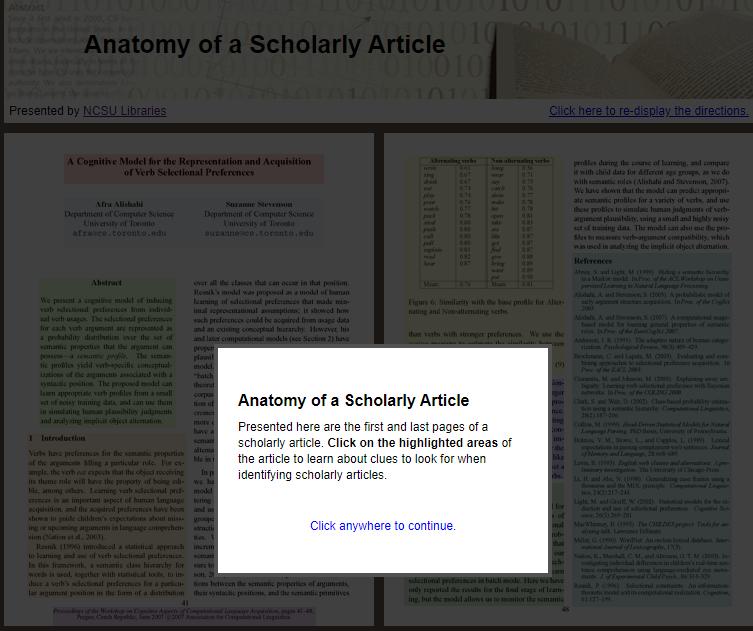 Interactive TutorialAnatomy of a Scholarly Article