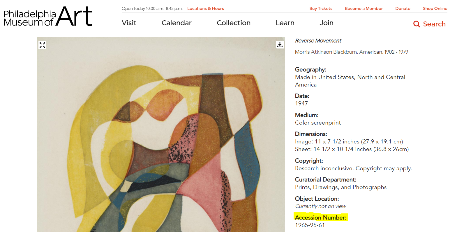 the accession number appears beside the image of the work in PMA's Online Collection