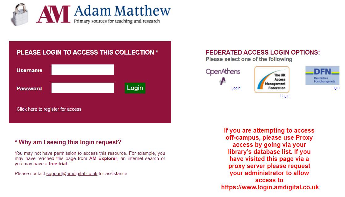 Adam Matthew Digital Institutional login