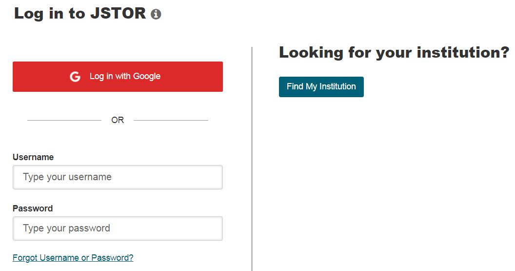 JSTOR institutional login