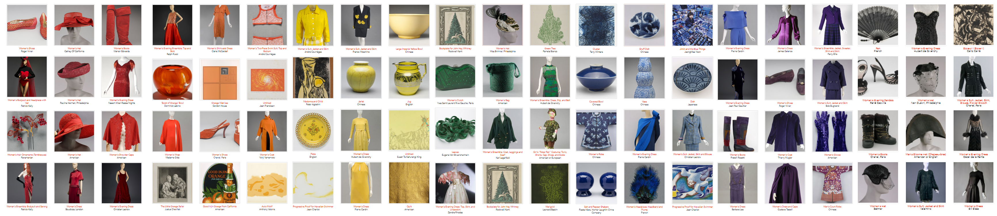 objects from PMA collections sorted by color
