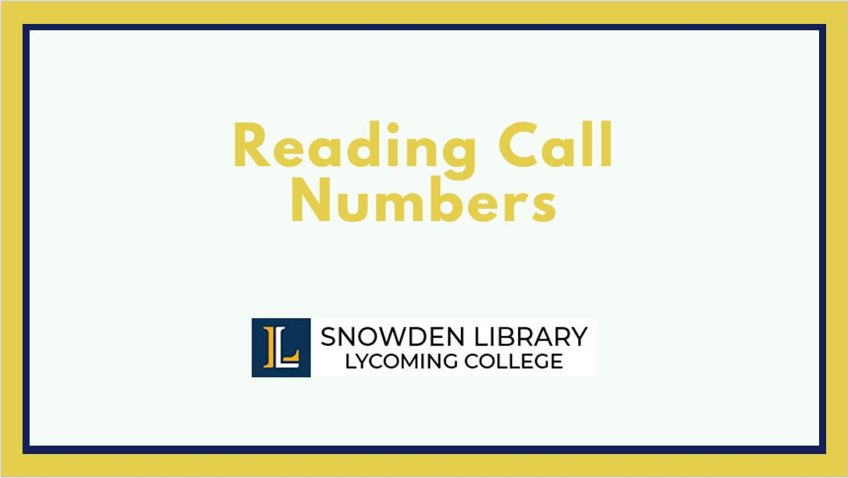 Reading Call Numbers tutorial