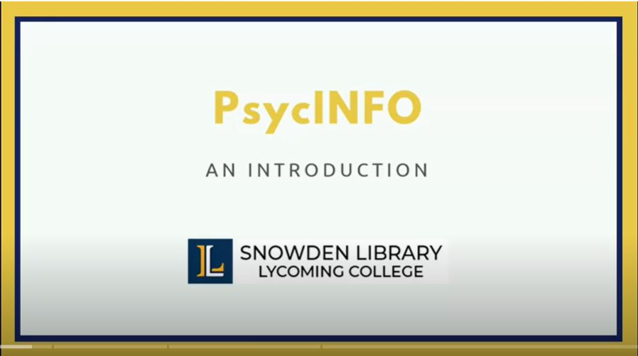 Introduction to PsycINFO tutorial