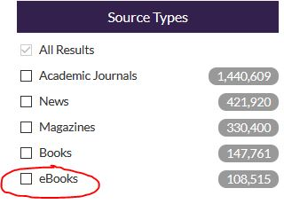 Screenshot of Source Types limiter with eBooks option selected