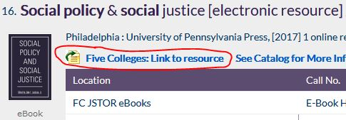 Screenshot with ebook result and Five Colleges: Link to resource highlighted