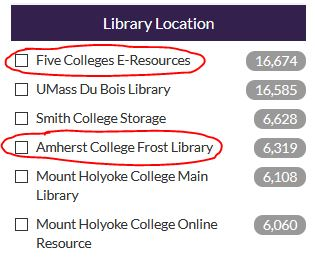 Screenshot or Library Location results limiter with Five Colleges E-Resources and Amherst College Frost Library selected