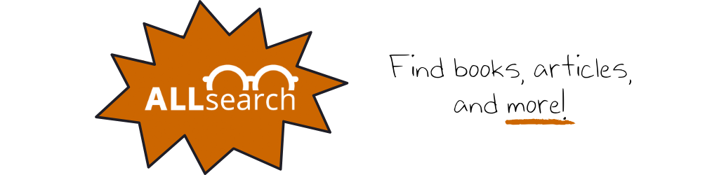 Callout with new ALLsearch logo. Text reads 'Find, books, articles, and more!