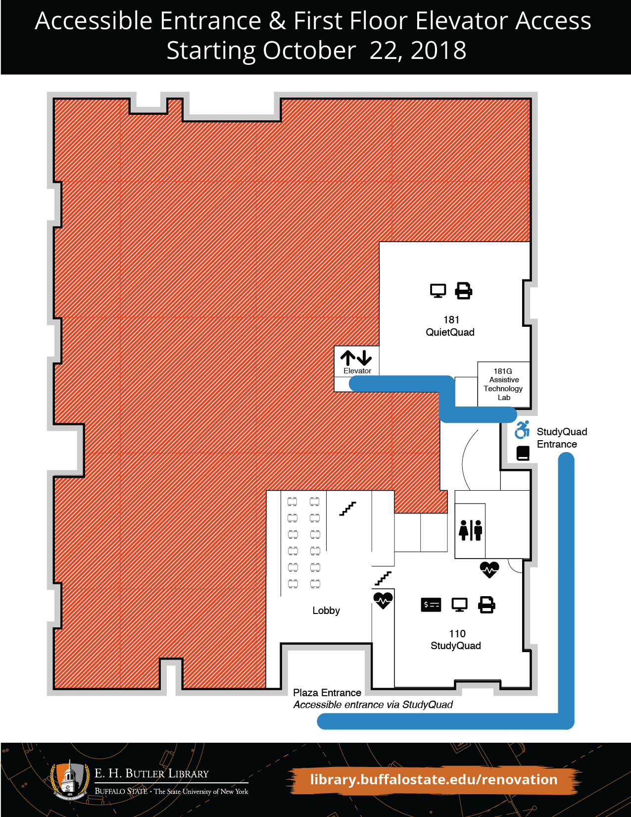 Accessible entrance and first floor elevator access map, starting October 22, 2018