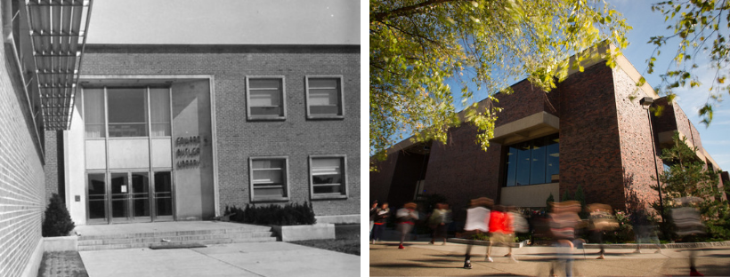 Views of Butler Library exterior from 1950s and present