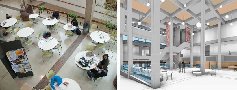 Interior lobby views of Butler Library from present day and renovation renderings