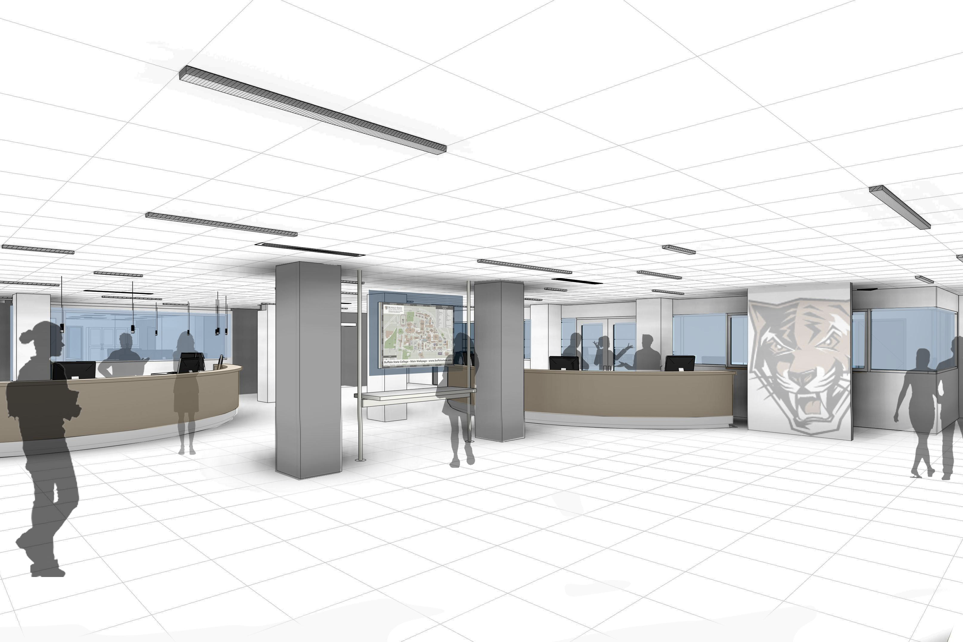 Rendering of the Academic Commons. View from the Ask Us desk.