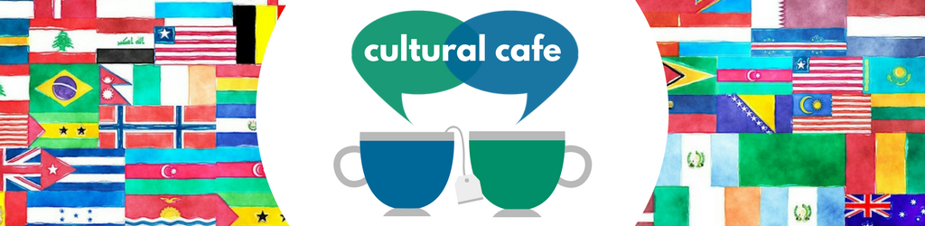 Cultural Cafe logo of two coffee mugs with speech bubbles in front of a variety of international flags