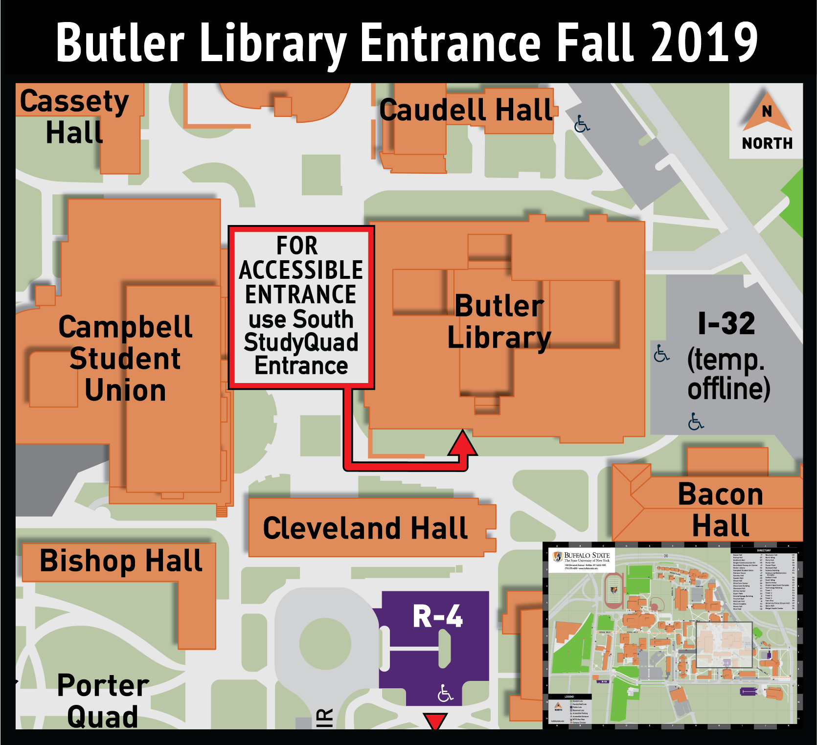 Campus map highlighting the library's accessible entry route to the South (StudyQuad) entrance.