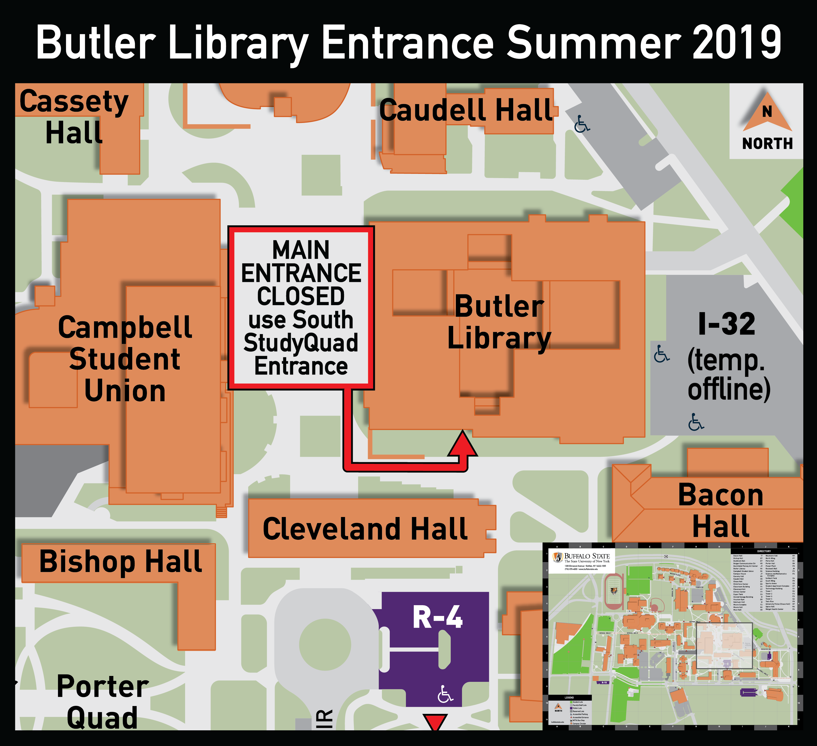 Campus map highlighting the library's main entrance closure and route to the South (StudyQuad) entrance.