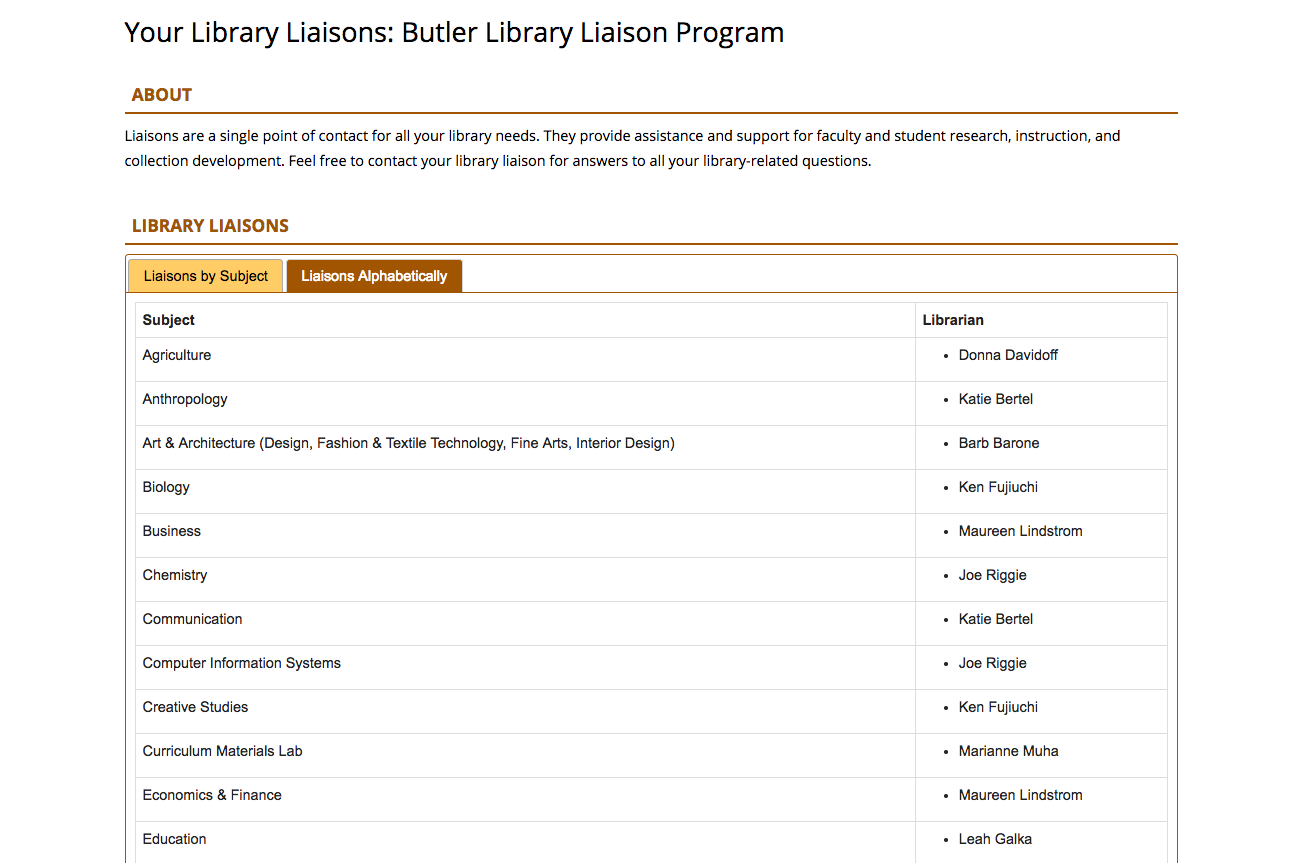 Library liaison program listing