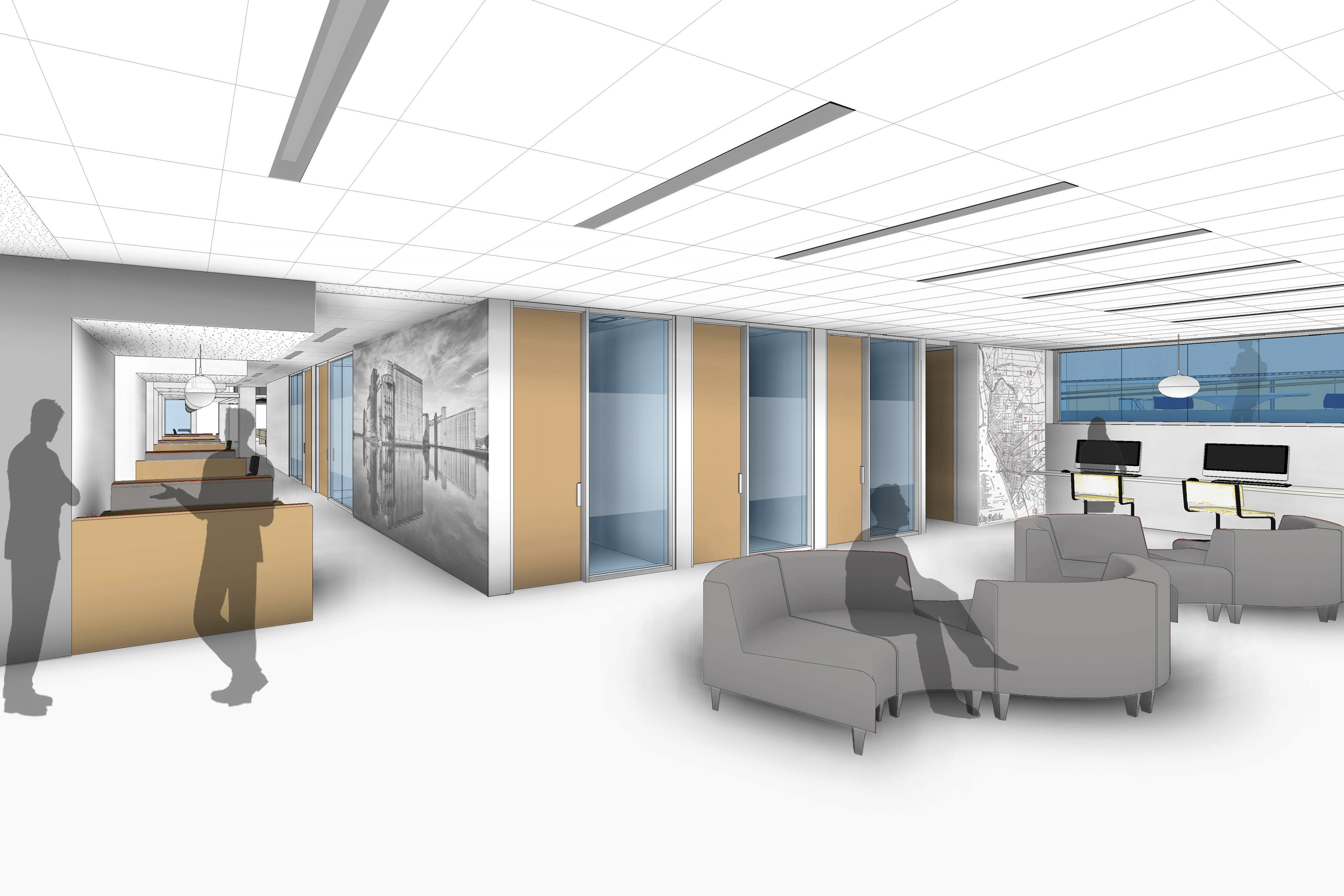 Rendering of the Academic Commons. View from the group study rooms.