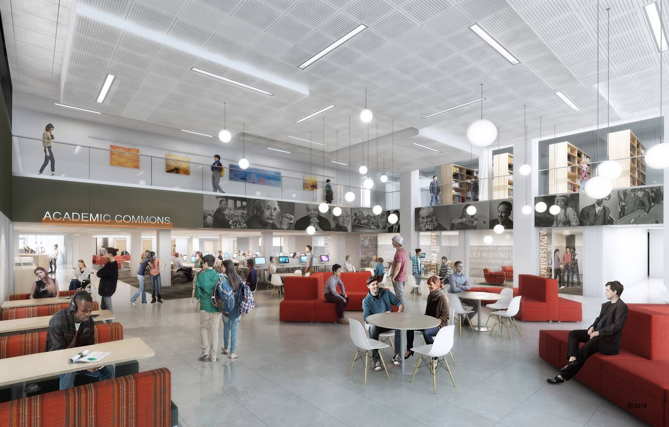 Updated rendering of the Academic Commons. View from the East Lobby.