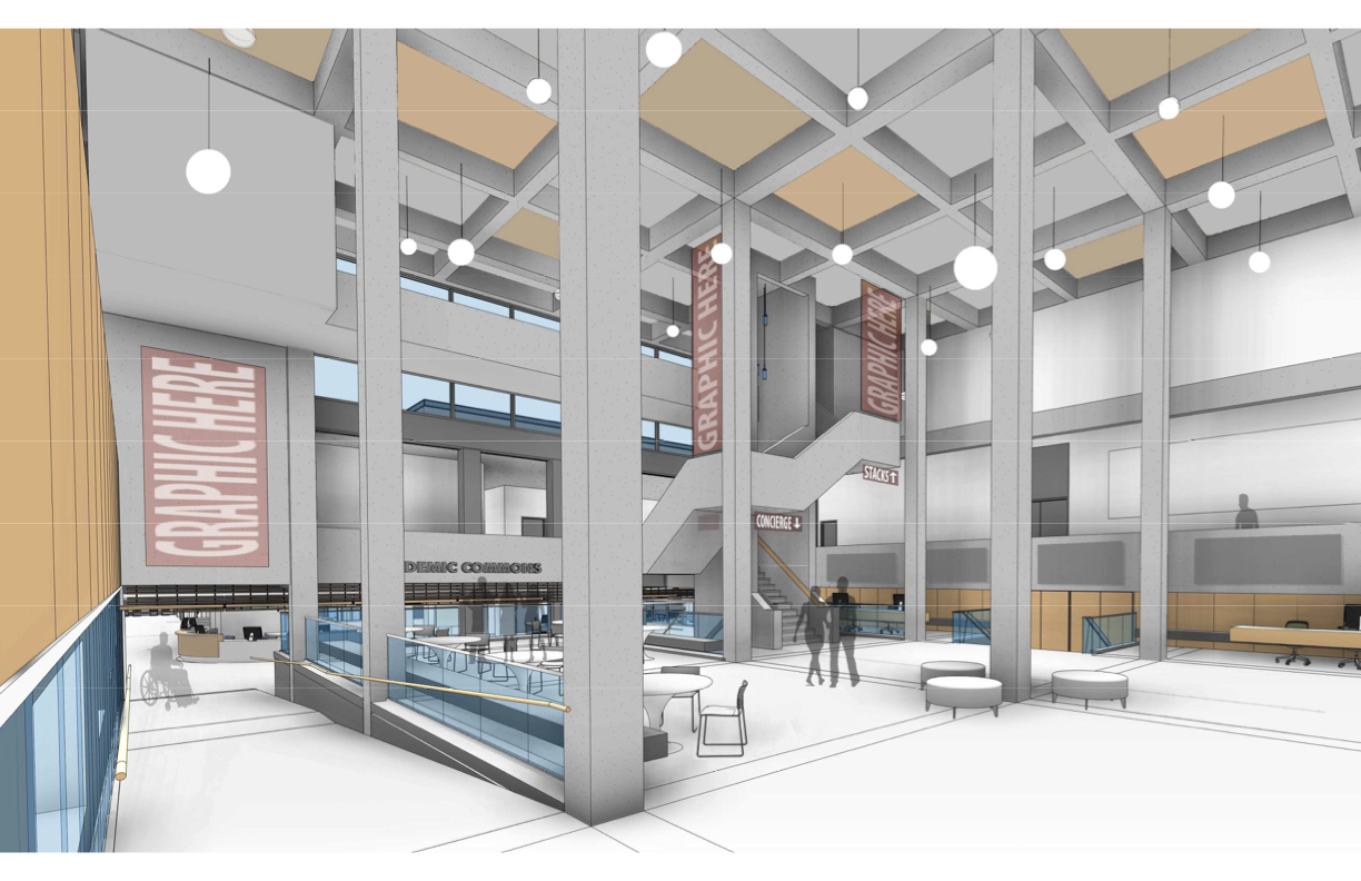 Rendering of the Academic Commons. View from the main entrance (west lobby).