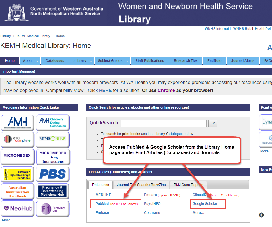 Library home page showing GS and PubMed