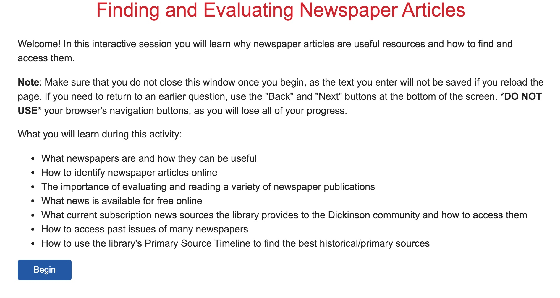 Finding and Evaluating Newspaper Articles