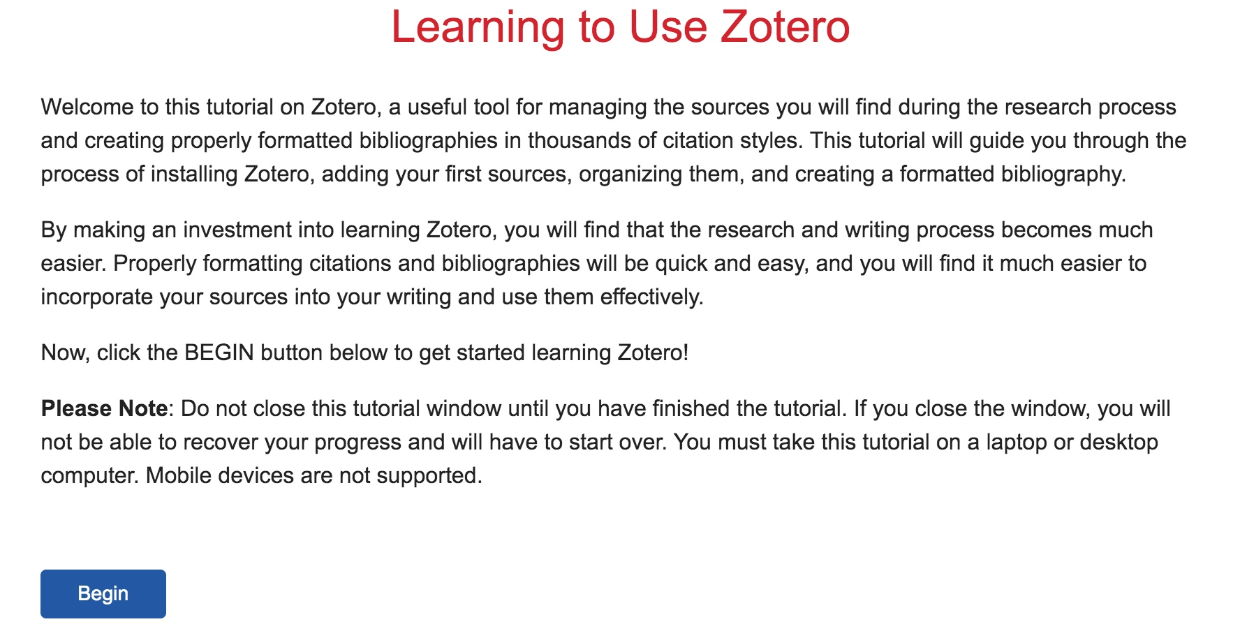 Learning to Use Zotero