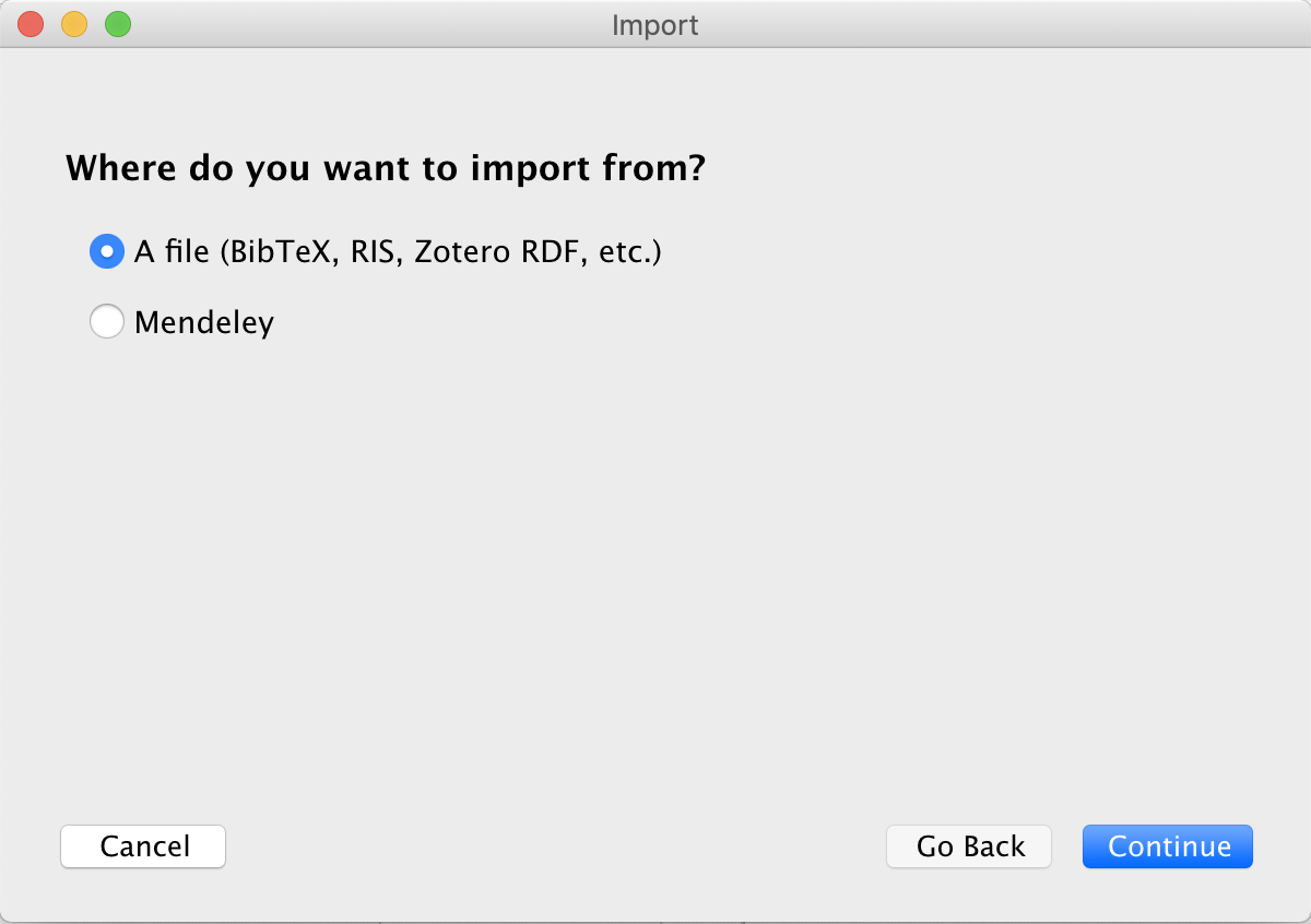 Zotero import options