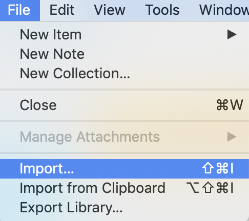 zotero import menu
