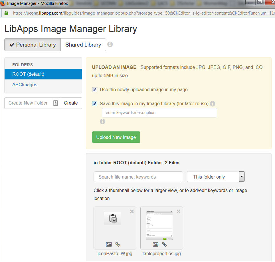 Screenshot LibApps Image Manager Library Menu