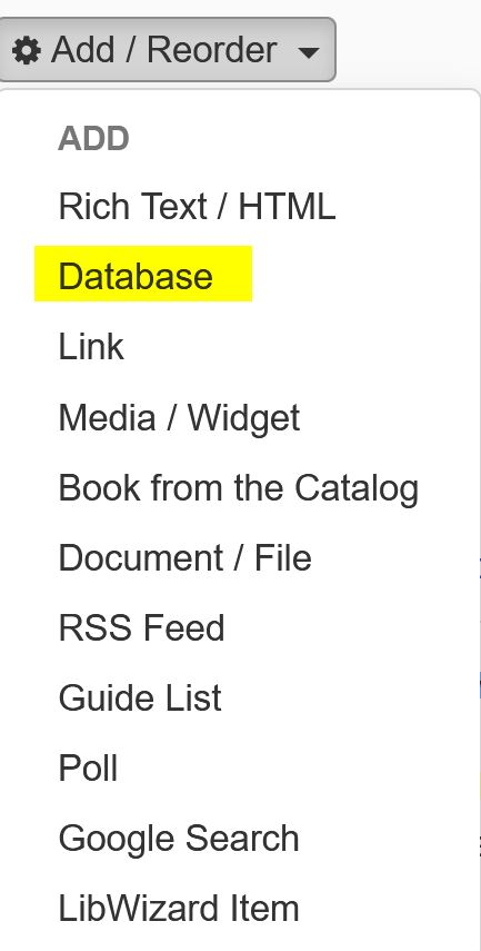 Image showing database asset link from dropdown menu