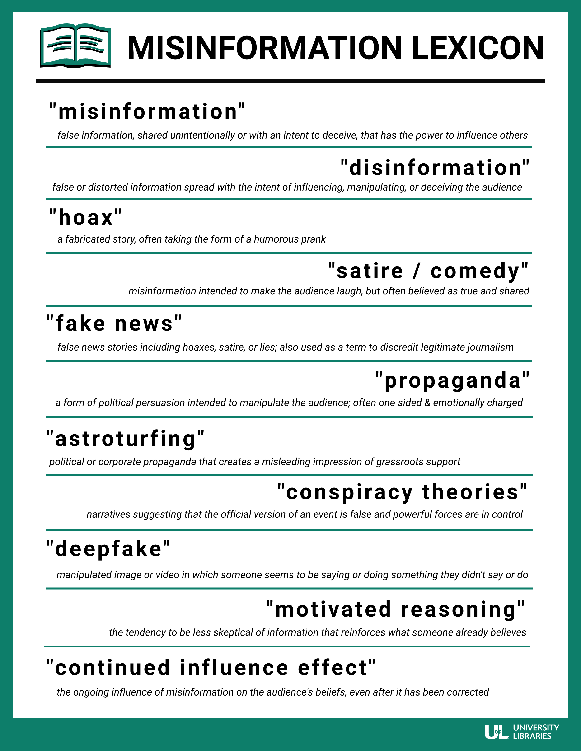Misinformation Lexicon. Misinformation: false information, shared unintentionally or with an intent to deceive, that has the power to influence others. Disinformation: false or distorted information spread with the intent of influencing, manipulating, or deceiving the audience. Hoax: a fabricated story, often taking the form of a humorous prank. Satire/Comedy: misinformation intended to make the audience laugh, but often believed as true and shared. Fake news: false news stories including hoaxes, satire, or lies; also used as a term to discredit legitimate journalism. Propaganda: a form of political persuasion intended to manipulate the audience; often one-sided and emotionally charged. Astroturfing: political or corporate propaganda that creates a misleading impression of grassroots support. Conspiracy theories: narratives suggesting that the official version of an event is false and powerful forces are in control. Deepfake: manipulated image or video in which someone seems to be saying or doing something they didn't say or do. Motivated reasoning: the tendency to be less skeptical of information that reinforces what someone already believes. Continued influence effect: the ongoing influence of misinformation on the audience's beliefs, even after it has been corrected.