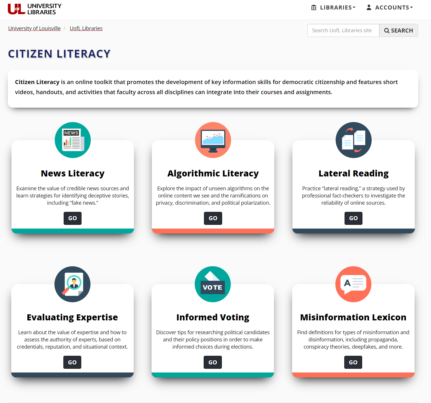 Citizen Literacy homepage