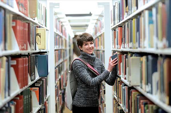 student in Ekstrom Library