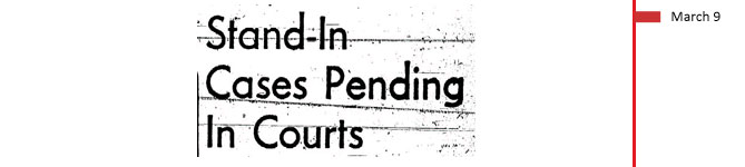 March 9, 1961. Stand-in cases pending in courts.