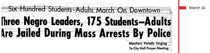 March 16, 1961. Six hundred students-adults march on downtown. Three Negro leaders, 175 students-adults are jailed during mass arrest by police. Marchers parade singing to City Hall prayer meeting.