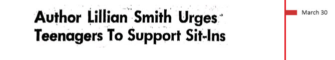 March 30, 1961. Author Lillian Smith urges teenagers to support sit-ins.