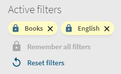 Screen capture showing active filters