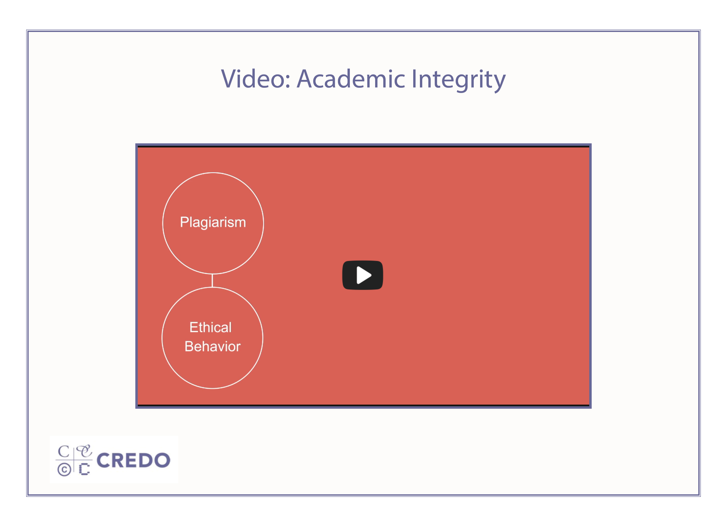 Academic Integrity Video