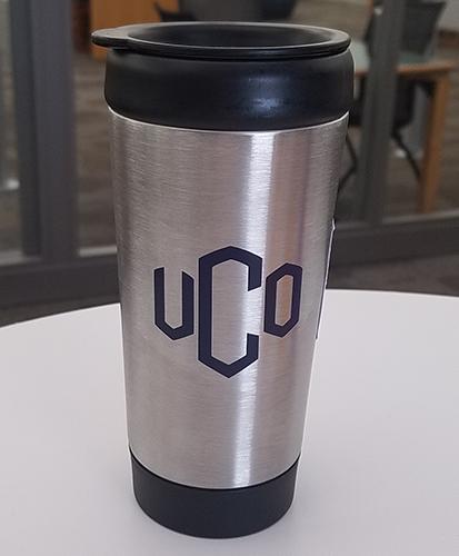vinyl UCO on metal tumbler